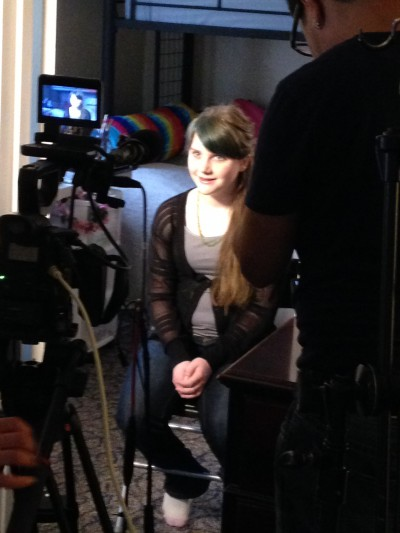 Being interviewed for the TV show