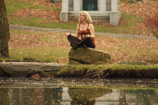 Meditating by the pond